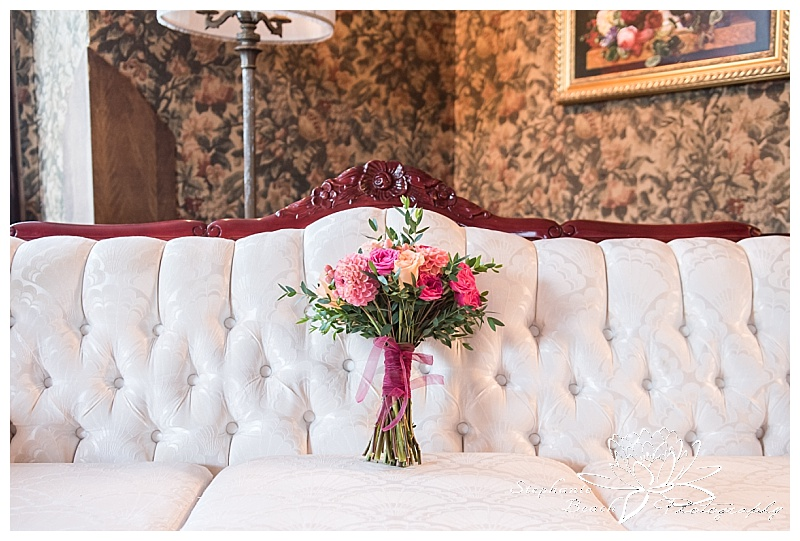 Perth-Manor-Wedding-Stephanie-Beach-Photography-Couch-Flowers-Bouquet-Coral-Pink-Orange-Floral