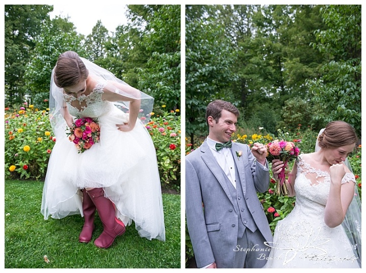 Temples-Sugar-Bush-Wedding-portraits-bride-groom-rain-rainy-day-rainboots-hunter-fist-pump