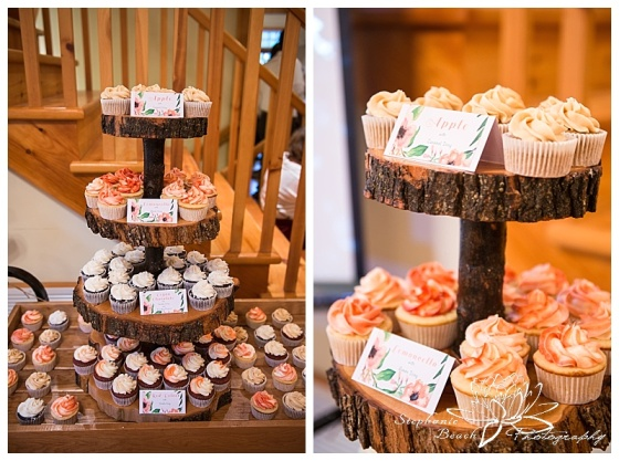 Temples-Sugar-Bush-Wedding-Reception-Cake-Sweet-clementines-baker-cupcakes-coral-white-chocolate-wood-stand
