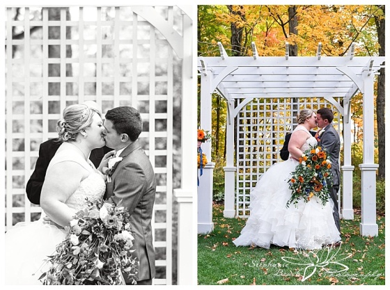 temple's-sugar-bush-fall-wedding-stephanie-beach-photography-ceremony-kiss-bride-groom
