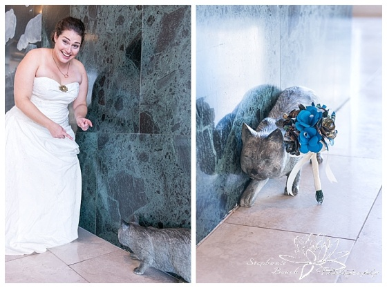 Toronto-Island-Wedding-Stephanie-Beach-Photography-bride-groom-cat-statue-bouquet-paper