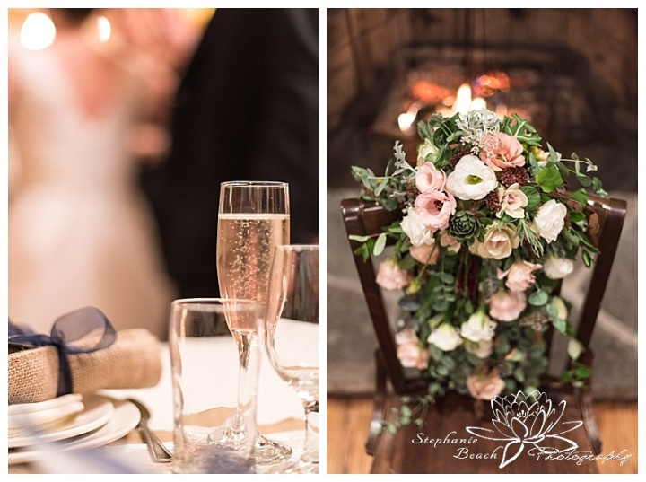 temples'-sugar-bush-wedding-stephanie-beach-photography-reception-cheers-toast-flowers-bouquet-cascading