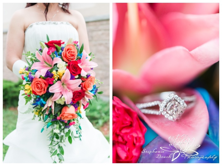 Rainbow-Coloured-Wedding-Stephanie-Beach-Photography-engagement-ring-bride-bouquet