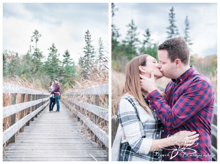Jack-Pine-Trail-Engagement-Session-Stephanie-Beach-Photography-swamp-boardwalk-bridge-fall-cloudy