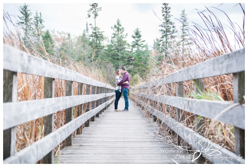 Jack-Pine-Trail-Engagement-Session-Stephanie-Beach-Photography-swamp-boardwalk-bridge-fall-colours