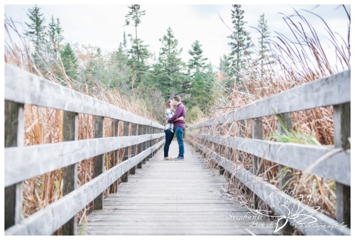 Jack-Pine-Trail-Engagement-Session-Stephanie-Beach-Photography-swamp-boardwalk-bridge-fall-colours