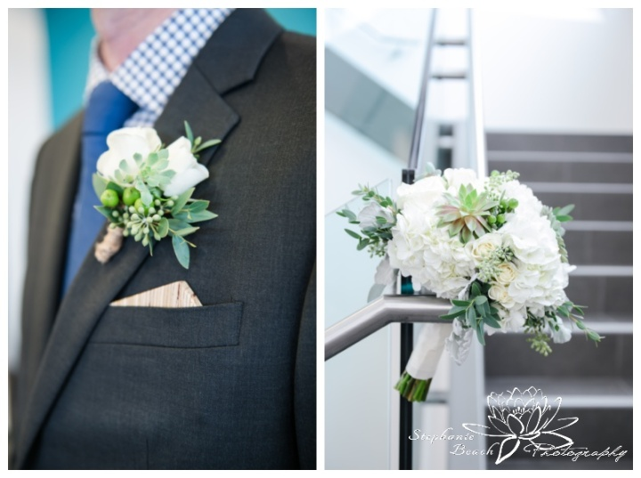 Ottawa-Public-Library-Wedding-Stephanie-Beach-Photography-bouquet-boutonniere-mood-moss-flowers