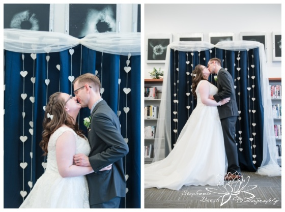 Ottawa-Public-Library-Wedding-Stephanie-Beach-Photography-ceremony-first-kiss