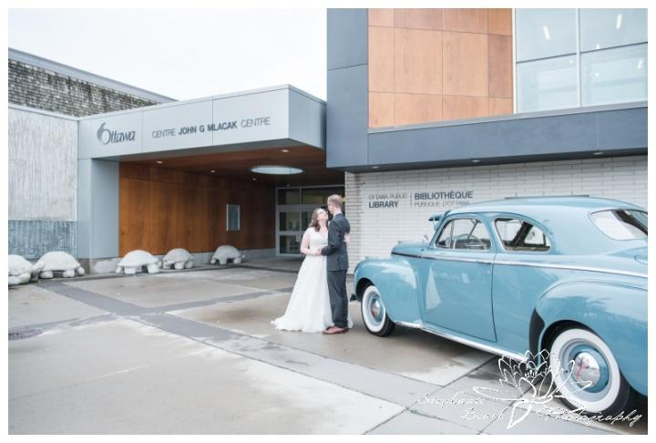 Ottawa-Public-Library-Wedding-Stephanie-Beach-Photography-bride-groom-portrait-car-exterior