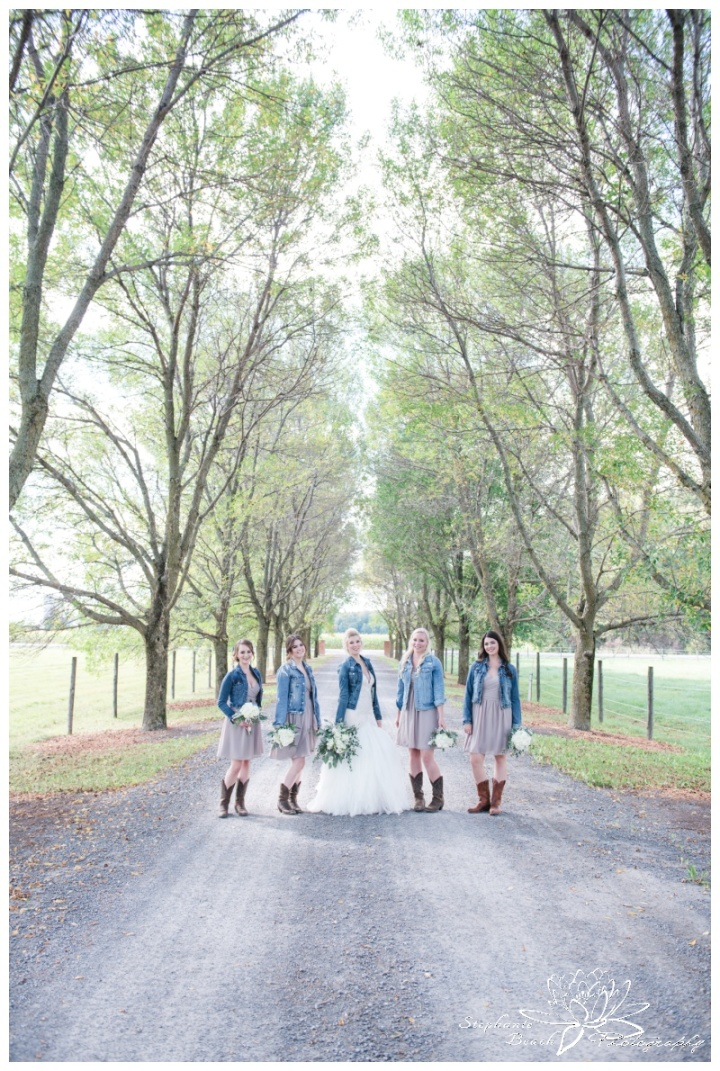 Stanleys-Olde-Maple-Lane-Farm-Wedding-Stephanie-Beach-Photography-bride-bridesmaids-jean-jacket-laneway