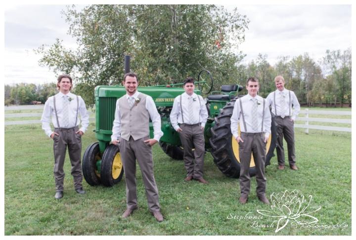 Stanleys-Olde-Maple-Lane-Farm-Wedding-Stephanie-Beach-Photography-groom-groomsmen-tractor