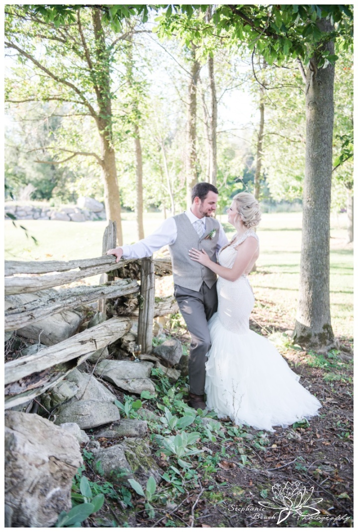 Stanleys-Olde-Maple-Lane-Farm-Wedding-Stephanie-Beach-Photography-bride-groom-fence