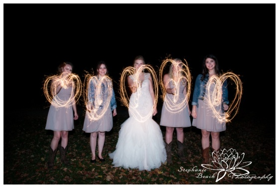 Stanleys-Olde-Maple-Lane-Farm-Wedding-Stephanie-Beach-Photography-sparklers-night-bridesmaids