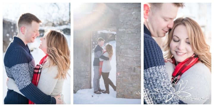 Merrickville-Winter-Engagement-Session-Stephanie-Beach-Photography-snow-sunflare-couple