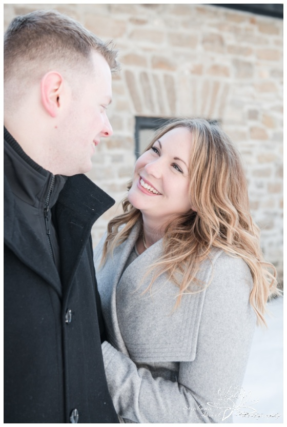 Merrickville-Winter-Engagement-Session-Stephanie-Beach-Photography-Christmas-portrait-stone-building-ruins