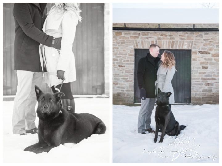 Merrickville-Winter-Engagement-Session-Stephanie-Beach-Photography-Christmas-portrait-stone-building-ruins-dog