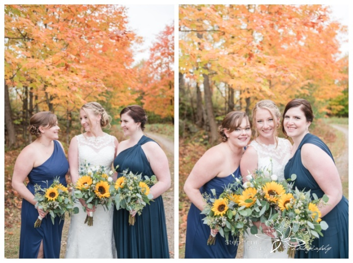 Ottawa-Fall-Backyard-Wedding-Stephanie-Beach-Photography-bridesmaids-sunflower-bouquet